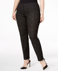 Alfani Plus Size Printed Hollywood Skinny Pants Only At Macy's Blurred Lines Gunmetal