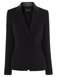 Karen Millen Leather Collar Tuxedo Jacket Black