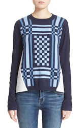 Sea Check Knit And Woven Top Blue