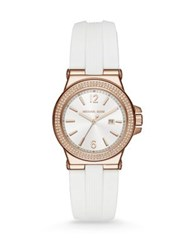 Michael Kors Mini Dylan Rose Goldtone Sterling Silver And Silicone Strap Watch White Rose Gold
