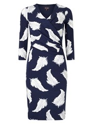 Phase Eight Feather Print Dress Blue