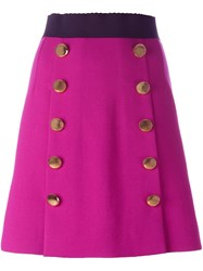 Dolce And Gabbana Buttoned Mini Skirt Pink And Purple