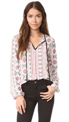English Factory Embroidered Blouse Red Combo