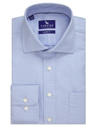 Chester Barrie By Broken Chevron Tailored Fit Shirt Blue White