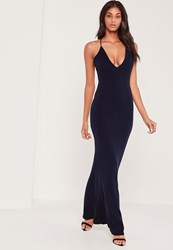 Missguided Cross Back Plunge Fishtail Maxi Dress Navy Blue