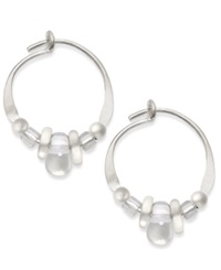 Jody Coyote Sterling Silver Earrings Czech Glass Bead Hoop Earrings
