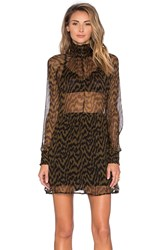 Ganni Long Sleeve Sheer Top Mini Dress Black