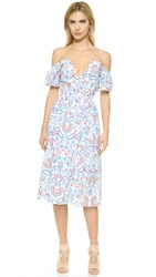 N Nicholas Shoulder Cutout Wrap Dress Embroidered Floral