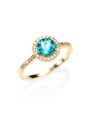 Suzanne Kalan Apatite White Sapphire And 14K Yellow Gold Ring Gold Blue