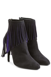Tamara Mellon Suede Ankle Boots With Fringing Black