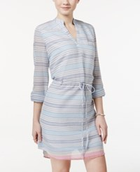 Trixxi Juniors' Striped Drawstring Waist Shirt Dress