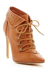 Realplay Nicholas Lace Up Pointed Toe Studded Bootie Brown