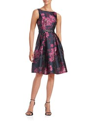 Eliza J Belted Floral Fit And Flare Dress Fuschia