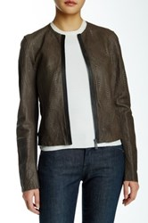Elie Tahari Cleary Genuine Lamb Leather Jacket Brown