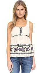 Suno Embroidered Top Ivory