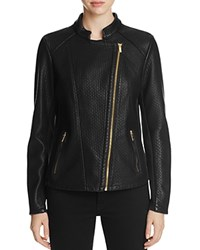 Calvin Klein Quilted Faux Leather Moto Jacket Black