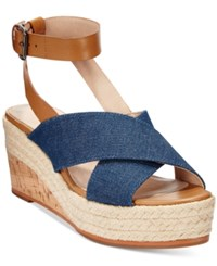 French Connection Liora Platform Wedge Sandals Women's Shoes Denim
