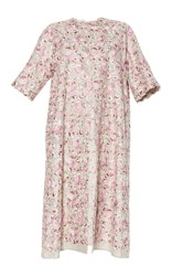 Luisa Beccaria Linen Embroidered Coat Pink