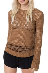 O'neill Women's 'Escape' Open Knit Cotton Pullover Chipmunk