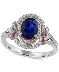 Effy Collection Royal Bleu By Effy Sapphire 1 3 8 Ct. T.W. And Diamond 1 3 Ct. T.W. Ring In 14K White Gold With Rose Gold Accents Blue