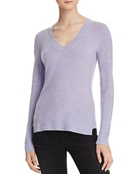 Aqua Cashmere V Neck Cashmere Sweater Heather Iris