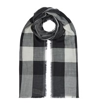 Burberry Shoes And Accessories Lightweight Check Wool And Silk Scarf Female Charcoal
