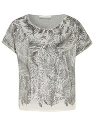 Oui Fern Sequin Top Rose Grey