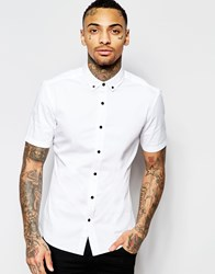 Asos Skinny Shirt In White Twill With Short Sleeves White