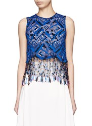 Msgm Bead Fringe Embroidered Lace Sleeveless Top Blue Multi Colour