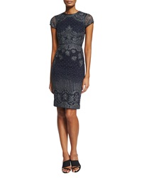 Catherine Deane Carlotta Short Sleeve Embroidered Cocktail Dress With Leather Trim