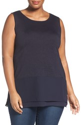 Nic Zoe Plus Size Women's Chiffon Trim Tank Midnight