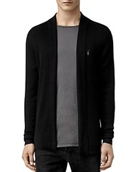 Allsaints Mode Merino Wool Open Cardigan Sweater Black