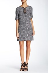 Twelfth St. By Cynthia Vincent Lace Up Printed Shift Dress Multi