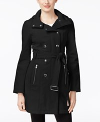 Calvin Klein Petite Double Breasted Softshell Trench Coat Black