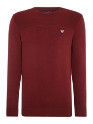 Armani Jeans Crew Neck Embroidered Logo Jumper Burgundy