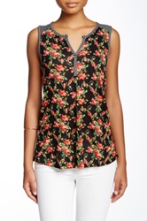 Olivia Moon Striped Floral Tank Petite Black