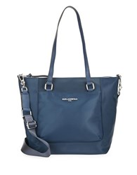 Karl Lagerfeld Leather Trimmed Nylon Tote Navy Blue