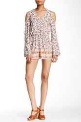 Romeo And Juliet Couture Printed Cold Shoulder Romper White