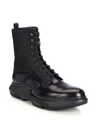 Prada Runway Lug Sole Leather And Nylon Lace Up Boots Black