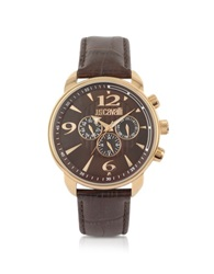 Just Cavalli Earth Brown Croco Multifunction Watch