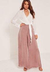 Missguided Super Wide Leg Palazzo Trousers Pink Pink