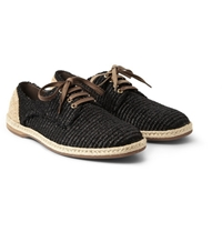 Dolce And Gabbana Woven Raffia Effect Espadrille Derby Shoes Mr Porter