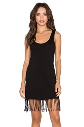 Bobi Pima Cotton Fringe Tank Dress Black