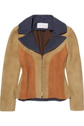 Jonathan Saunders Polly Color Block Suede Jacket Tan