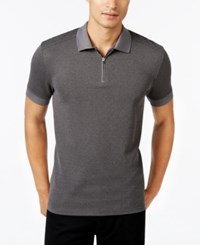 Vince Camuto Men's Waffle Knit Quarter Zip Strech Polo Heather Charcoal