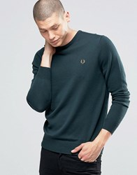 Fred Perry Jumper With Crew Neck In British Racing Green Brit Rac Gr