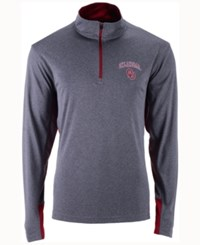 Colosseum Men's Oklahoma Sooners Ridge Runner Quarter Zip Pullover Gray Crimson