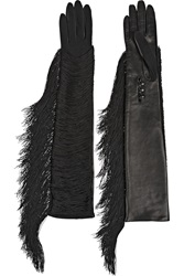 Lanvin Fran Fringed Jersey And Leather Gloves Black