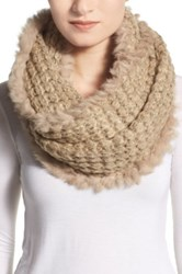 La Fiorentina Infinity Scarf With Genuine Rabbit Fur Fringe Beige