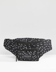 Nicce London Bum Bag With All Over Print Black